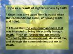 hope as a result of righteousness by faith117