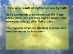 hope as a result of righteousness by faith118