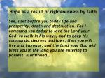hope as a result of righteousness by faith121