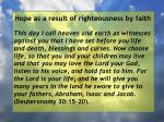 hope as a result of righteousness by faith123