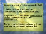 hope as a result of righteousness by faith126
