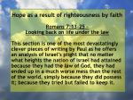 hope as a result of righteousness by faith130