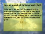 hope as a result of righteousness by faith136