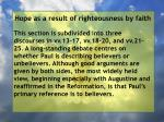 hope as a result of righteousness by faith137