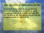 hope as a result of righteousness by faith154