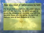hope as a result of righteousness by faith158