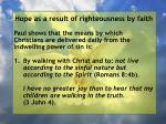 hope as a result of righteousness by faith162