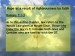 hope as a result of righteousness by faith17