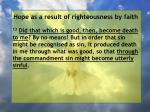 hope as a result of righteousness by faith177