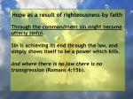 hope as a result of righteousness by faith181