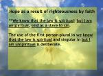 hope as a result of righteousness by faith183