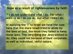 hope as a result of righteousness by faith186
