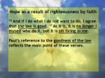 hope as a result of righteousness by faith190
