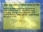 hope as a result of righteousness by faith191