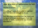 hope as a result of righteousness by faith196