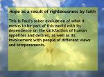 hope as a result of righteousness by faith198