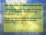 hope as a result of righteousness by faith200
