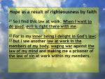 hope as a result of righteousness by faith207