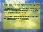 hope as a result of righteousness by faith208