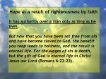 hope as a result of righteousness by faith21