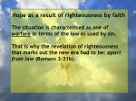hope as a result of righteousness by faith211