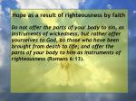 hope as a result of righteousness by faith212