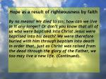 hope as a result of righteousness by faith213
