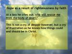 hope as a result of righteousness by faith219