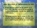 hope as a result of righteousness by faith226