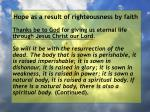hope as a result of righteousness by faith228