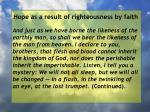 hope as a result of righteousness by faith230