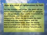 hope as a result of righteousness by faith231