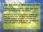 hope as a result of righteousness by faith233
