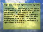 hope as a result of righteousness by faith237