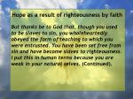 hope as a result of righteousness by faith239