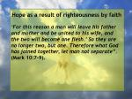 hope as a result of righteousness by faith26