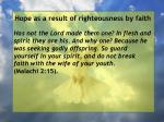 hope as a result of righteousness by faith27