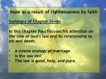 hope as a result of righteousness by faith3