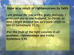 hope as a result of righteousness by faith33