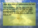 hope as a result of righteousness by faith43