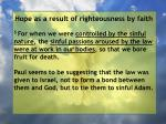 hope as a result of righteousness by faith51