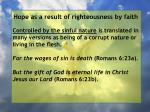 hope as a result of righteousness by faith54