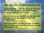 hope as a result of righteousness by faith57
