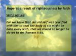 hope as a result of righteousness by faith59