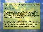 hope as a result of righteousness by faith60