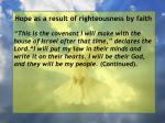 hope as a result of righteousness by faith76