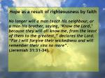 hope as a result of righteousness by faith77