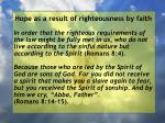 hope as a result of righteousness by faith83