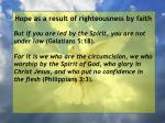 hope as a result of righteousness by faith85