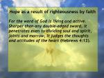 hope as a result of righteousness by faith97